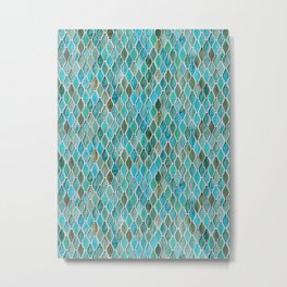 Summery Turquoise Glass Tiles Pattern Metal Print