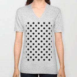 Polka Dots (Black & White Pattern) Unisex V-Neck