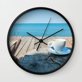 Wooden floor with chaise-longues and cup of coffee, Istria, Croatian coast Wall Clock