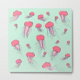 Pastel colors jellyfish Metal Print
