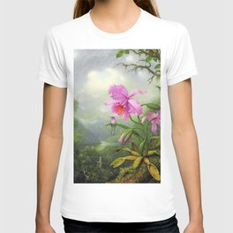 Hummingbird Perched On The Orchid Plant - Martin Johnson Heade T-shirt