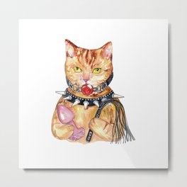 BDSM cat Painting Wall Poster Watercolor Metal Print