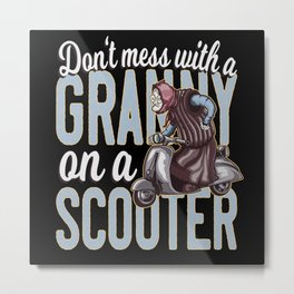 Funny Granny on a Scooter Metal Print
