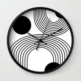 Modern Minimalist Line Art in Black and White Wall Clock
