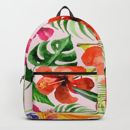 Tropical flowers and leaves on Pink background Backpack