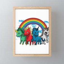 Unicorn Rainbow Fabled-Beast Horn Myth Animal Gift Framed Mini Art Print