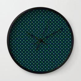 Mini Navy and Neon Lime Green Polka Dots Wall Clock