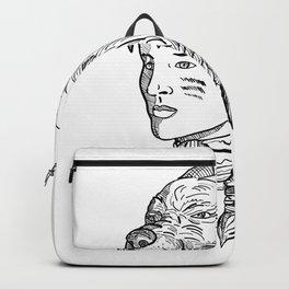 Native American Woman Wearing Wolf Head Backpack