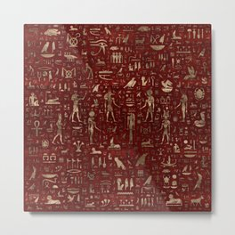 Ancient Egyptian Gods and hieroglyphs - Red Leather and gold Metal Print