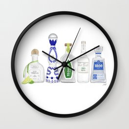 Tequila Bottles Illustration Wall Clock
