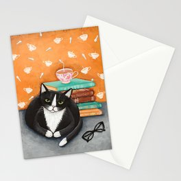Tuxedo Cat Tea and Books Stationery Cards