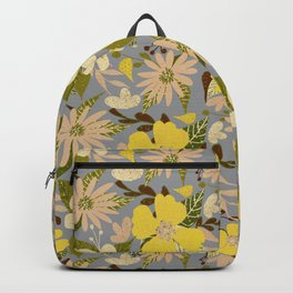 Retro Tropical Floral Print in Illuminating Yellow and Ultimate Gray Style 2 Backpack