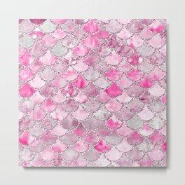 Trendy Colorful Pink Watercolor Glitter Mermaid Scales Metal Print