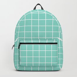 Middle blue green - heavenly color - White Lines Grid Pattern Backpack