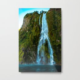 Fiordland Waterfall - Milford Sound, New Zealand Metal Print