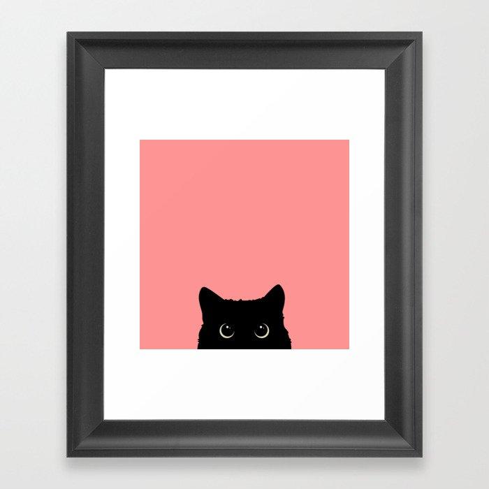Sneaky black cat Gerahmter Kunstdruck