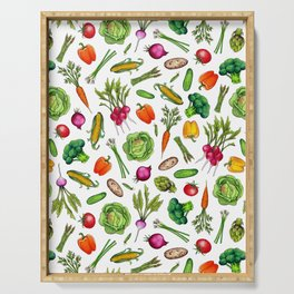 Vegetable Garden - Summer Pattern With Colorful Veggies Serving Tray