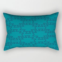 Southwest Azteca - Minimalist Geometric Pattern in Moroccan Blue Rectangular Pillow