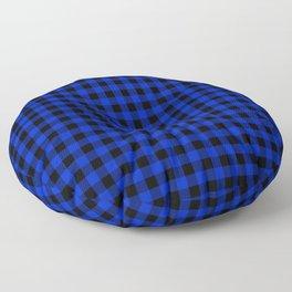 Cobalt Blue Cowboy Buffalo Check Plaid Floor Pillow