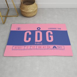 Baggage Tag B - CDG Paris Charles De Gaulle France Rug