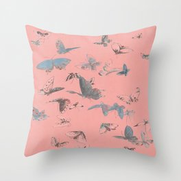 Delicate Coral Pink Boho Butterfly Sky Throw Pillow