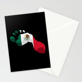 Mexico Flag - Mexican Foot Prints - Hecho En Mexico Stationery Cards