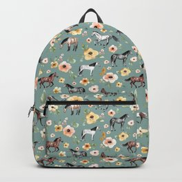 Horses and Sunrise Blue Floral, Horse Love, Wild Horses, Yellow and Pink Flowers Backpack