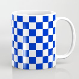 Cobalt Blue and White Checkerboard Pattern Coffee Mug