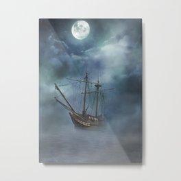 Foggy Sail Under Moon Metal Print