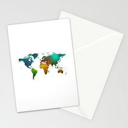Oil painted world map Stationery Cards