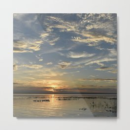 Lake sunset with puffball clouds Metal Print