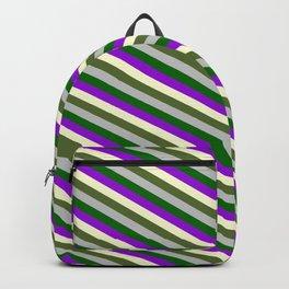 Grey, Dark Green, Dark Violet, Light Yellow & Dark Olive Green Colored Stripes Pattern Backpack