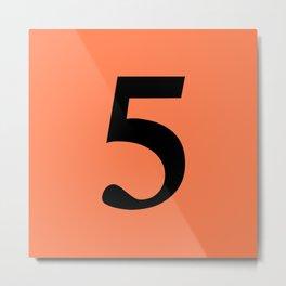 5 (BLACK & CORAL NUMBERS) Metal Print