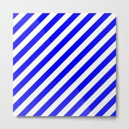 Diagonal Stripes (Blue & White Pattern) Metal Print