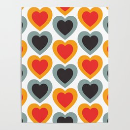 Mid-century Modern Hearts, Abstract Vintage Heart Pattern in Classic Red, Orange, Black and Grey Blue Color Poster
