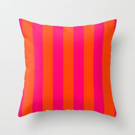 Bright Neon Pink and Orange Vertical Cabana Tent Stripes Throw Pillow
