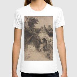 Rembrandt - Saint Jerome Reading in an Italian Landscape (1653) T-shirt