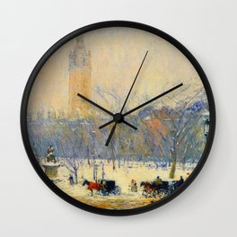 Frederick Childe Hassam - Snowstorm, Madison Square - Digital Remastered Edition Wall Clock