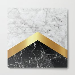 Stone Arrow Pattern - White & Black Marble & Gold #147 Metal Print