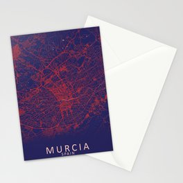 Murcia, Spain, Blue, White, City, Map Stationery Cards