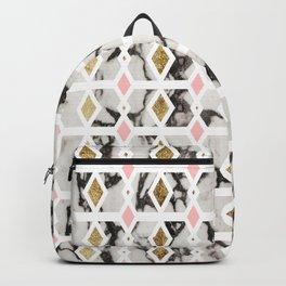 Modern Marble Gold Blush Pink Geometric Backpack