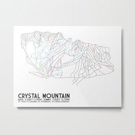Crystal Mountain, WA - Minimalist Trail Maps Metal Print