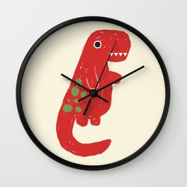 Cute Red T-rex Dinosaur Wall Clock