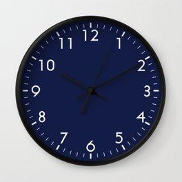 Navy Blue Minimalist Solid Color Block Spring Summer Wall Clock
