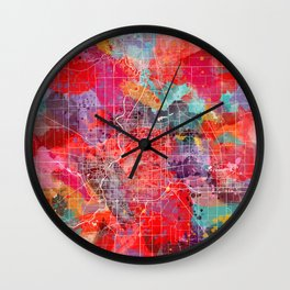 Rockford map Illinois painting 2 Wall Clock