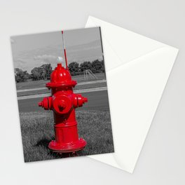 Bright Red Mueller Super Centurion Fire Hydrant Freshly Painted Fireplug Stationery Cards