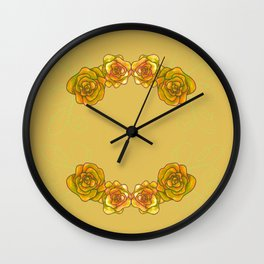 Roses are Yellow Wall Clock