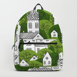 Trees and houses seamless pattern summer green Backpack