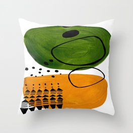 Modern Mid Century Fun Colorful Abstract Minimalist Painting Olive Green Yellow Ochre Buns Throw Pillow