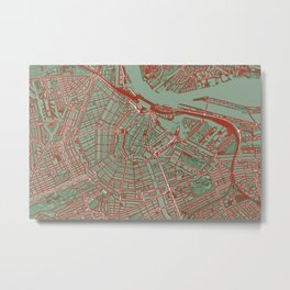 Amsterdam city map pop Metal Print